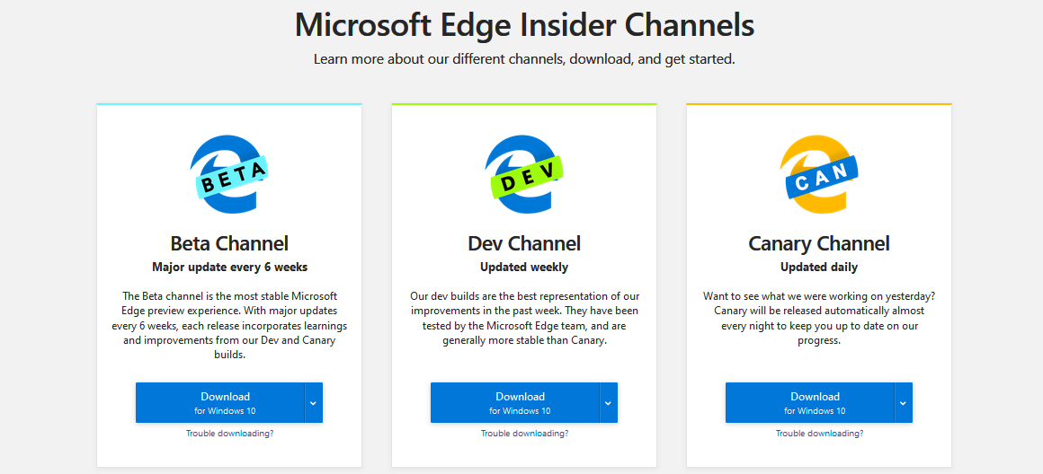Microsoft Edge preview channels