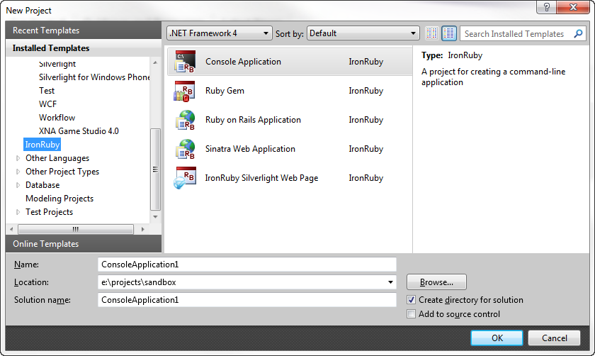 how to use ironruby in visual studio
